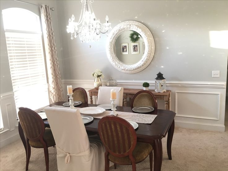 Our dining room. Whickham gray walls,   Chandelier from Home Depot.