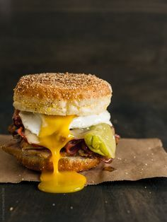 Cubano Breakfast Sandwich |  The ultimate egg sandwich, piled high with roast pork, ham, swiss cheese and pickled pepperoncini.