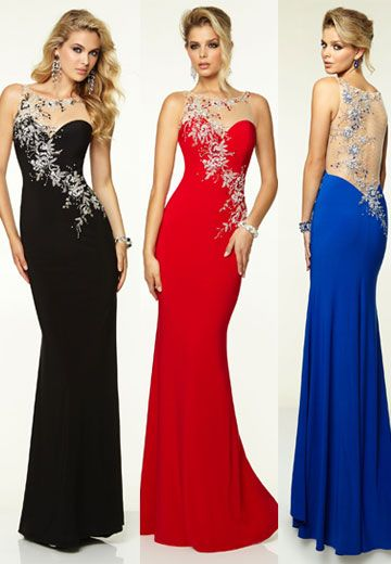 Stunning evening dresses in a variety of colours