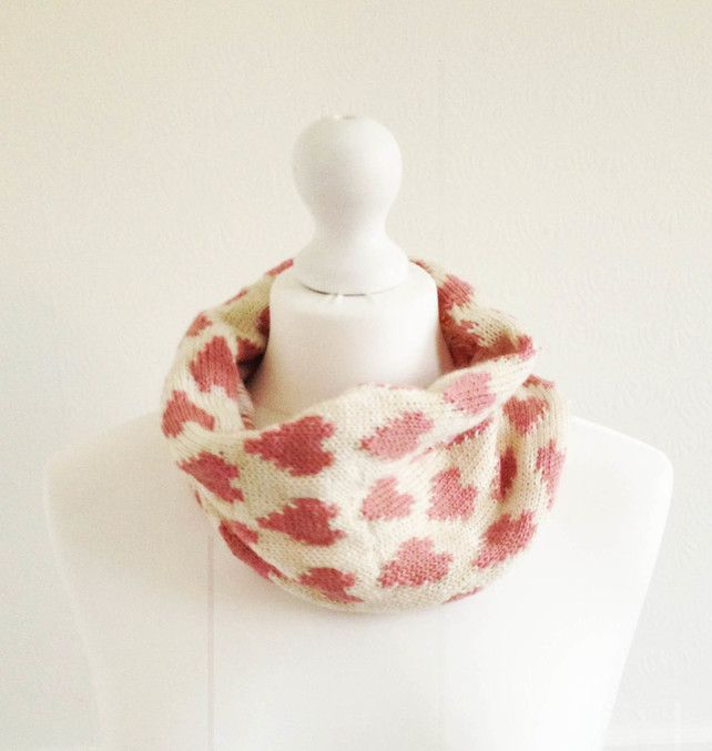 Cream And Pink Fair Isle Hearts Knitted Snood Handmade By Grace Cook £15.00