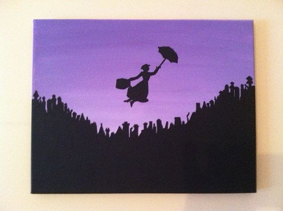 Original Acrylic Silhouette Painting of Mary Poppins Flying over London