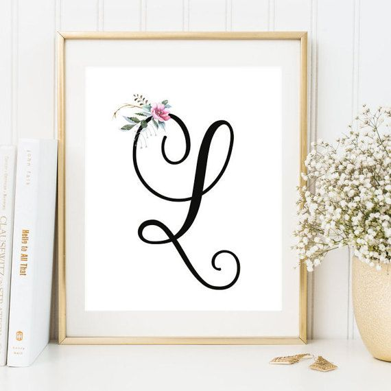 Nursery monogram l letter art decor printable