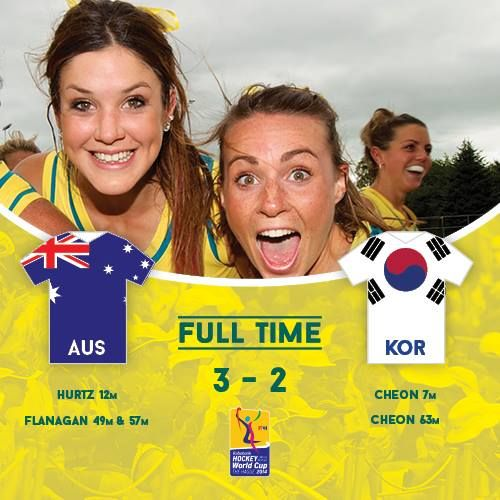 The Hockeyroos walked away with a 3-2 win over Korea in match one at the 2014 World Cup. Goals from Emily Hurtz (12min) and two from Anna Flanagan (49th & 57th min) helped the Hockeyroos to their victory.