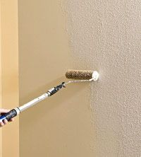 For our ugly hallway walls.  Texture (drywall mud mixed with water) applied with paint roller.  It worked and it was super cheap!