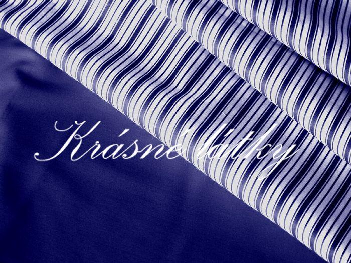 Tmavě modrý proužek - bavlněné plátno