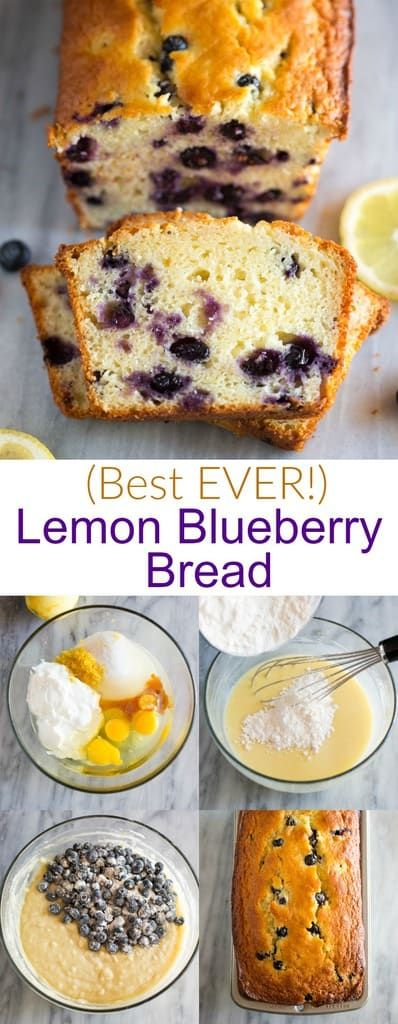 The best Lemon Blueberry Bread is made with Greek Yogurt, fresh or frozen blueberries, and a simple icing. This easy recipe can be enjoyed year round. #lemonbread #blueberrybread #recipe #easy #moist #lemonblueberrybread #tastesbetterfromscratch via @betrfromscratch