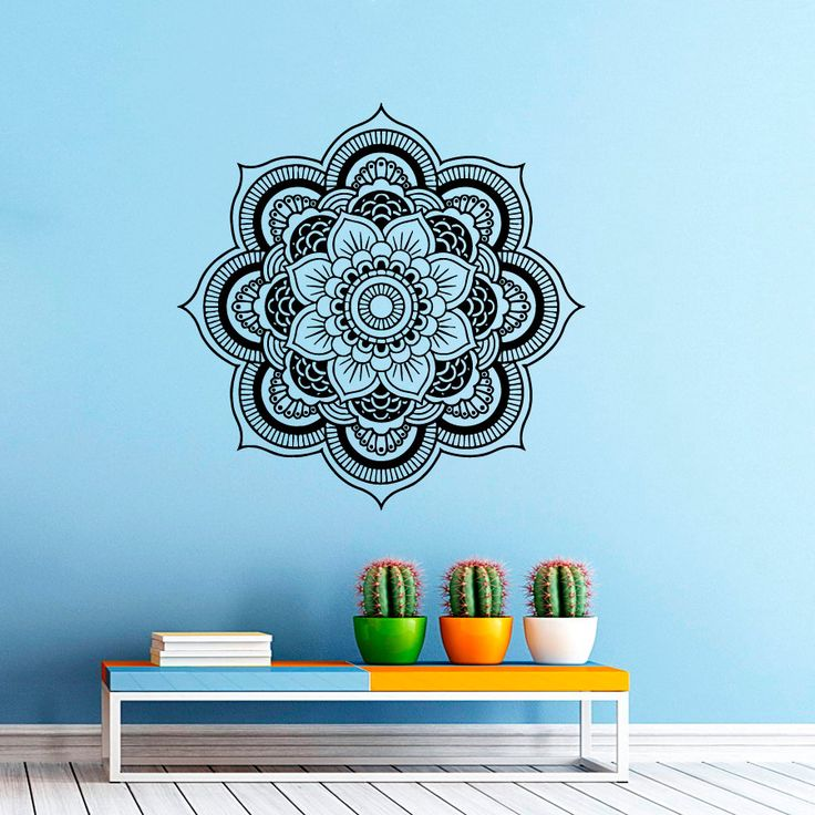 Wall Decal Mandala Decals Indian Pattern Vinyl Sticker Yoga Namaste Wall Decor…