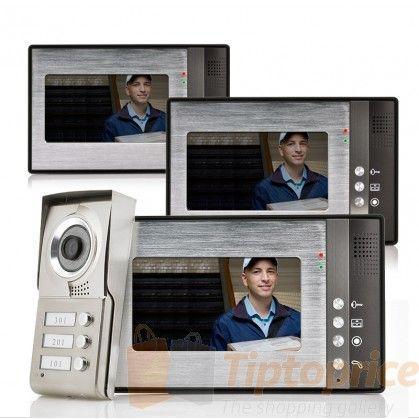 """Videoportero """"Triga"""" - 3 Monitores de 3 hogares separados con visión nocturna"""