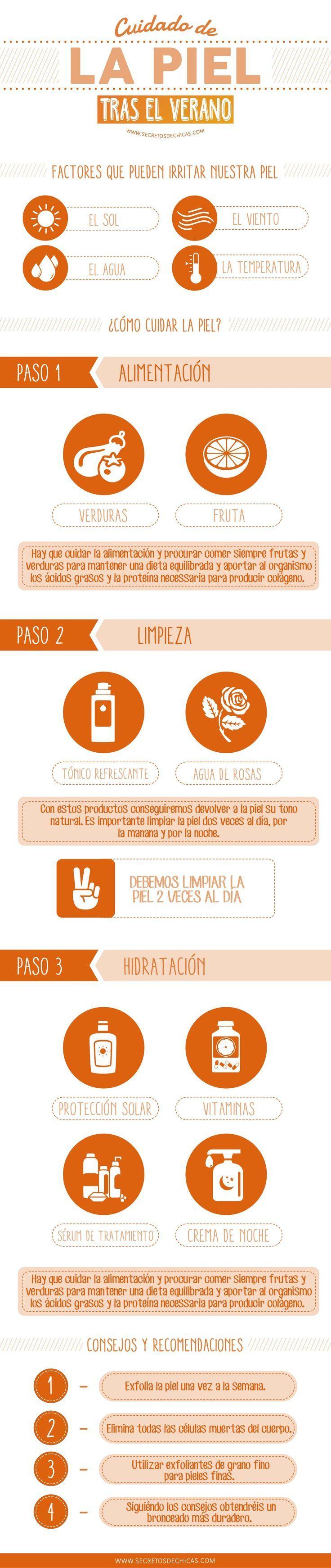 Cómo cuidar la piel después del verano. #infografia #salud #verano