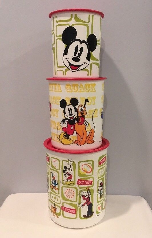 Rare Disney Mickey Mouse Tupperware Set of 3 Container & Lids Never Used! MINT!   eBay