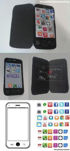 Manualidadesconmishijas: Un móvil nuevo para papá. Tarjeta telefono celular para el Día del padre. #diadelpadre