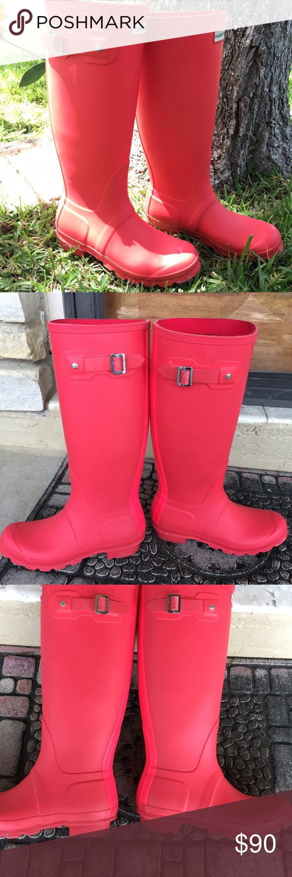 ORIGINAL HUNTER TALL CORAL BOOTS! Such a fun bright, coral color! ! In great used conditions! Bought from another poshmarker but fit too big. Hunter Boots Shoes Winter & Rain Boots