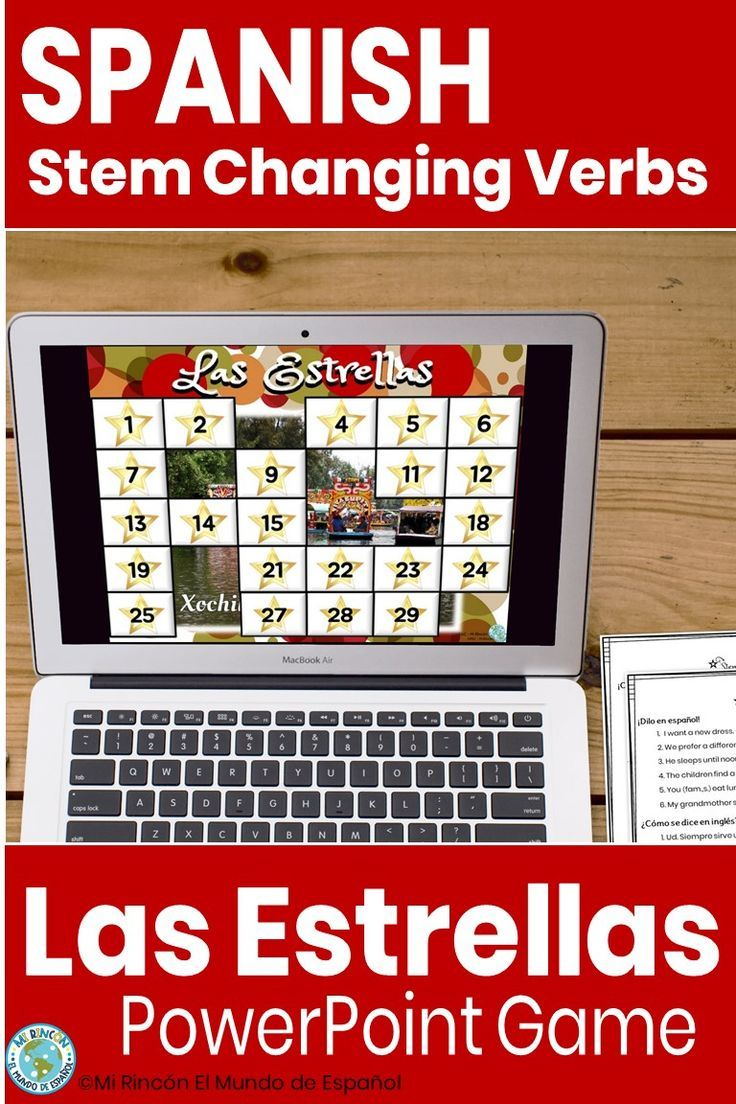 Spanish Stem Changing Verbs Game Las Estrellas With Worksheet Distance Learning Spanish Classroom Games Spanish Verbs Verb Games [ 1104 x 736 Pixel ]