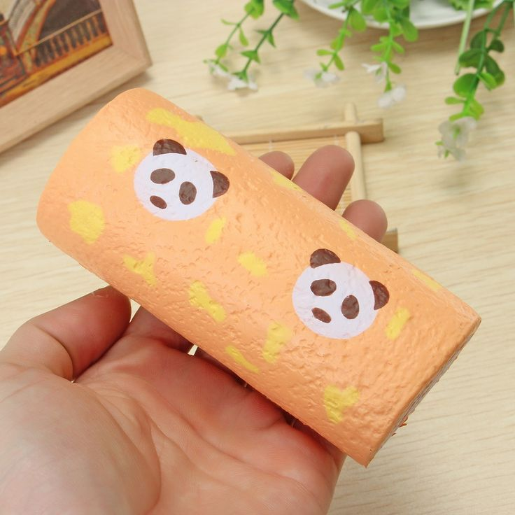 Vlampo Squishy Panda Swiss Roll Kawaii Sponge Cake Toy Slow Rising Original Pack…