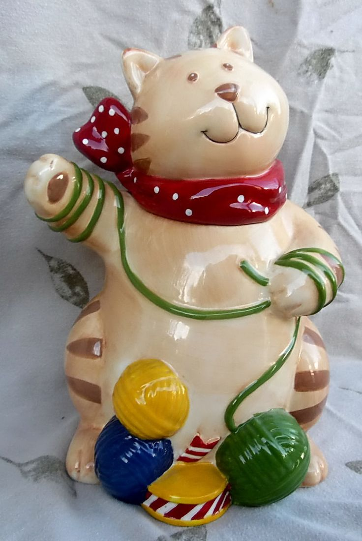 Certified international parisian fruit canister by susan winget set - Playful Cat With Yarn Balls Ceramic Cookie Jar