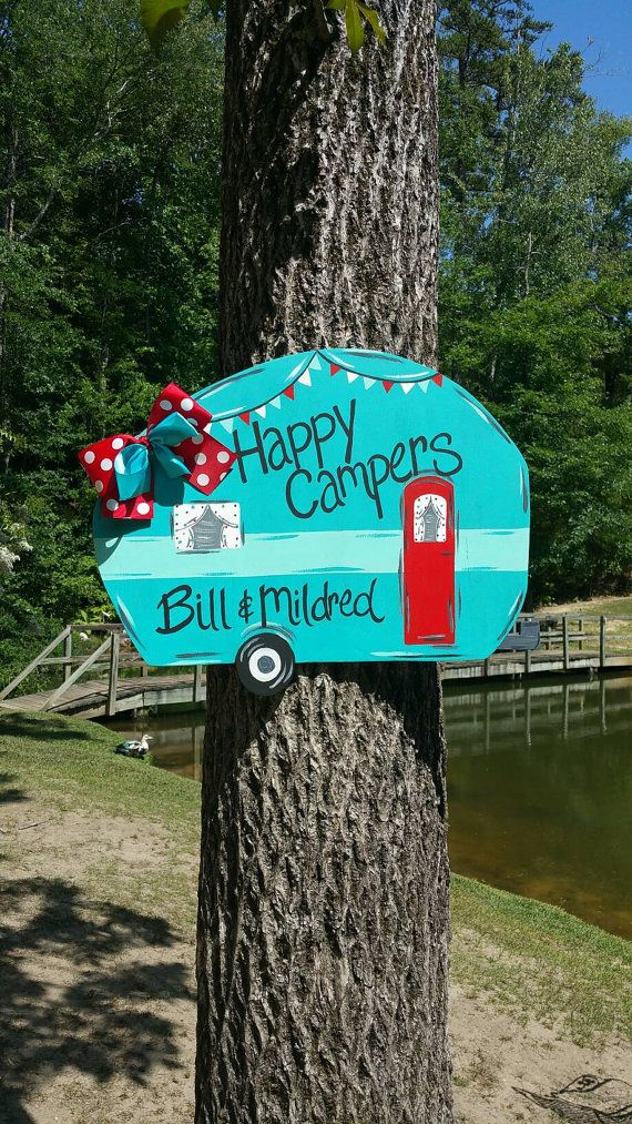 Camper door hanger happy campers by ThePinkSpeckledFrog on Etsy