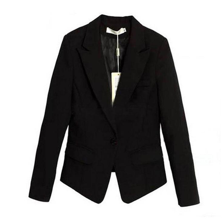 Дешевое Продвижение! женщины корея тонкий костюм пиджак куртка с длинным рукавом бизнес верхней одежды, Купить Качество Инструменты непосредственно из китайских фирмах-поставщиках:  Деталь: Корейский стройная Женская мода одна кнопка короткий блейзер костюм куртка с длинным рукавом черный 100% новый