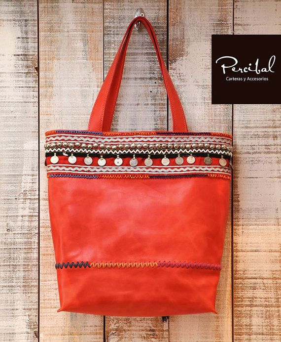Red boho tote bag bohemian leather tote oversized red by Percibal