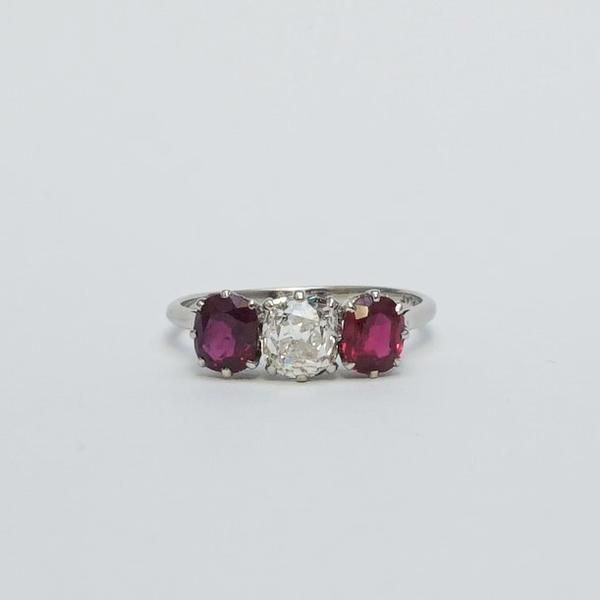 Art Deco Diamond and Ruby Three Stone Ring