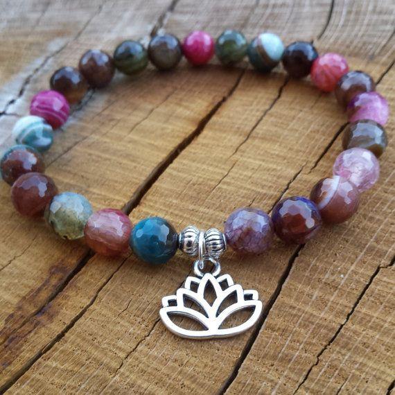girls sunglasses Lotus Bracelet Zen Wrist Mala Bracelets Agate by BohemianChicbead