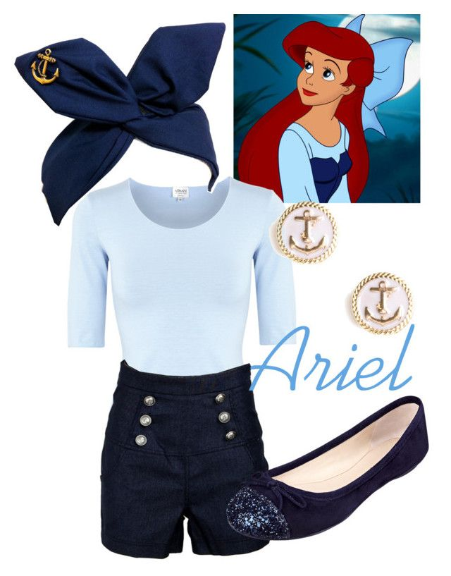 """Ariel - Kiss the Girl"" by disneywithalicia ❤ liked on Polyvore featuring Armani Collezioni, Nine West, BaubleBar and disney ariel kiss the girl disney fashion"