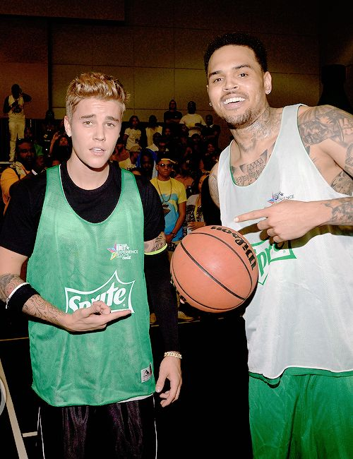 Justin Bieber and Chris Brown at the BET basketball game today [june 28 2014]