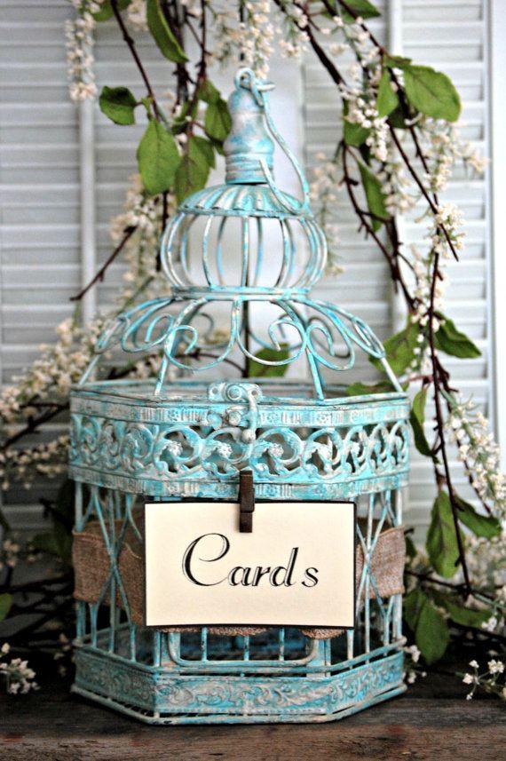 "Shabby Chic, Rustic, Wedding Decor 18"" Bird Cage Card Holder, Wishing Well, or Decorative Centerpiece on Etsy, $58.00"
