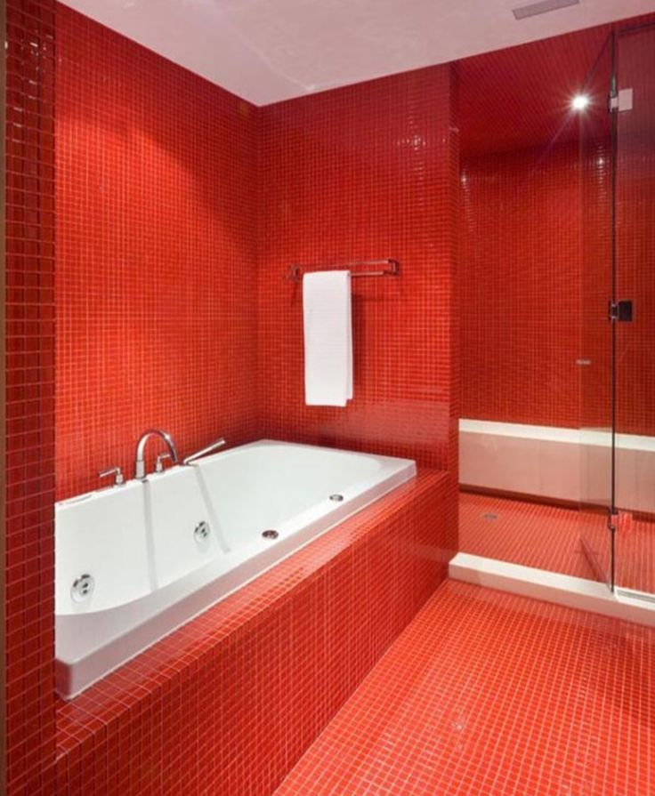 16 best red bathrooms images on Pinterest Red bathrooms, Room - red bathroom ideas