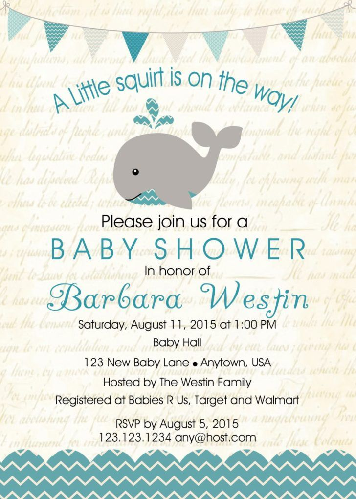 Baby Shower. Whale Baby Boy Shower Invitation Under The Sea Party Whale Baby Shower Invitation Sample.