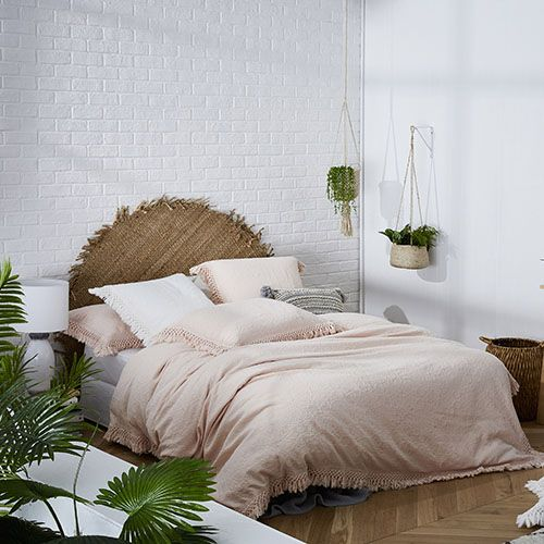 European Collection Boheme Fringe Shell Pink Quilt Cover