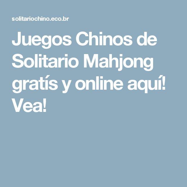 Juegos Chinos de Solitario Mahjong gratís y online aquí! Vea!