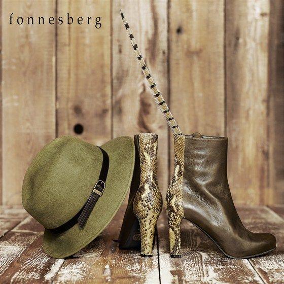 Fonnesberg mossgrøn ankelstøvle med slangepræget hæl