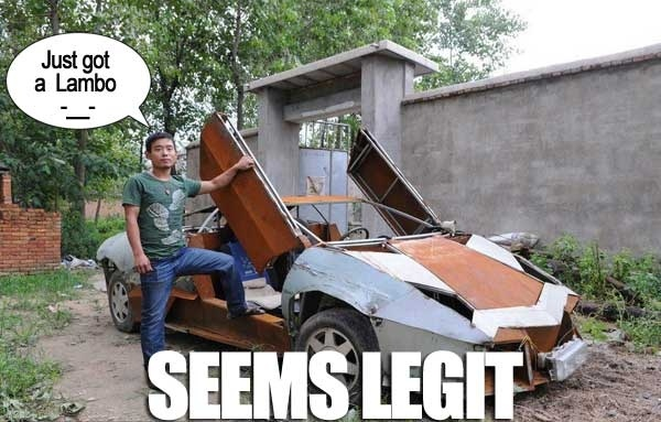 Asian guy buys a brand new Lamborghini Murcielago at his local junk yard. Hope this guy has car insurance, he needs to protect his investment!