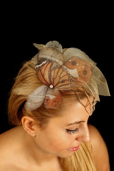 Fluttery Butterflies Head Piece with Organza by jewelera on Etsy, $185.00: Butterfly Veil, Head Pieces, Butterfly Hair, Butterflies Head, Hair Pieces, Butterflies Hair
