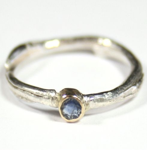 Sterling Silver Cast Willow Ring with Small Tanzanite