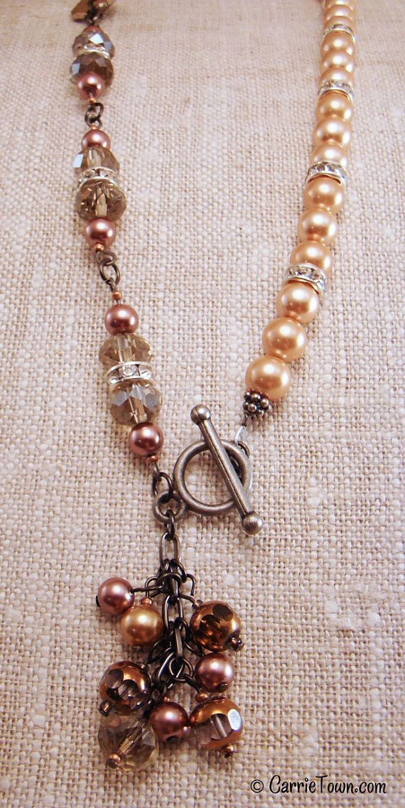 Crystal, freshwater pearl, and rhinestone neutral necklace. $38