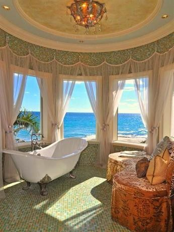 Like the way the curtains are hung.   My style is not this formal, but seriously.... I could be a princess in this bathroom. Wow!: Decor, Interior Design, Ideas, Dream Bathrooms, Bathtub, Dream House, Beach Houses, Place, Ocean View