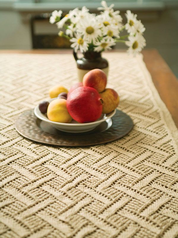 Montague - The diamond lace pattern creates a lovely fabric. Use as a table runner, a curtain panel or a shawl