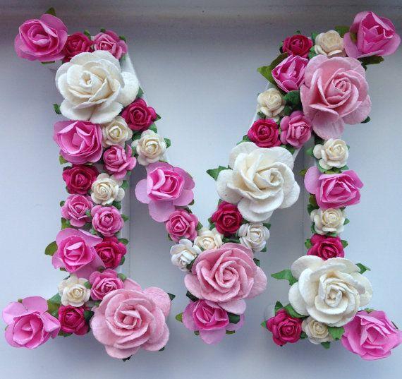 Custom Floral Letter Nursery Wall Decor Christening Decor