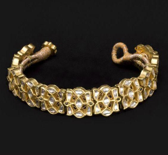 India | Bracelet; gold with gemstones | 1810 - 1915.  Former kingdom of Nabha, Punjab state | ©Asian Art Museum, San Francisco
