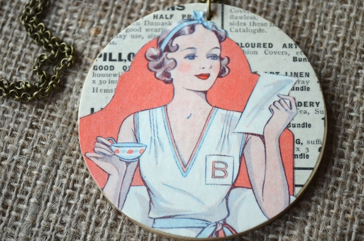 Isma  £15  Vintage paper from the 1920's displayed on a long length wooden necklace  www.justlucy.bigcartel.com