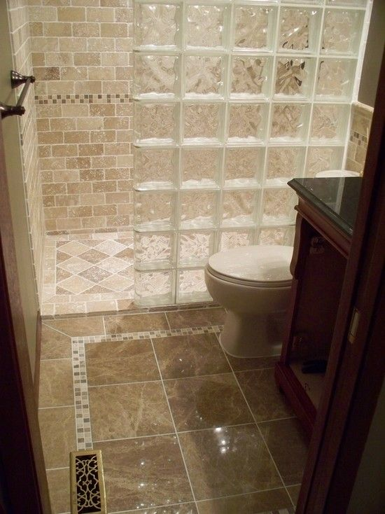 Interesting photos of glass block showers curbless and glass block wall lit and glass showe for Walk in shower for a small bathroom