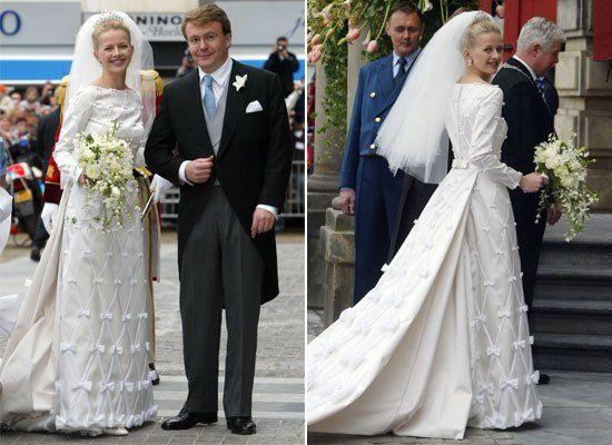 THE NETHERLANDS: Princess Mabel of Orange-Nassau (nee Mabel Martine Wisse Smit) & Prince Friso of Orange-Nassau. April 24, 2004. Overwhelmed by all the bows.