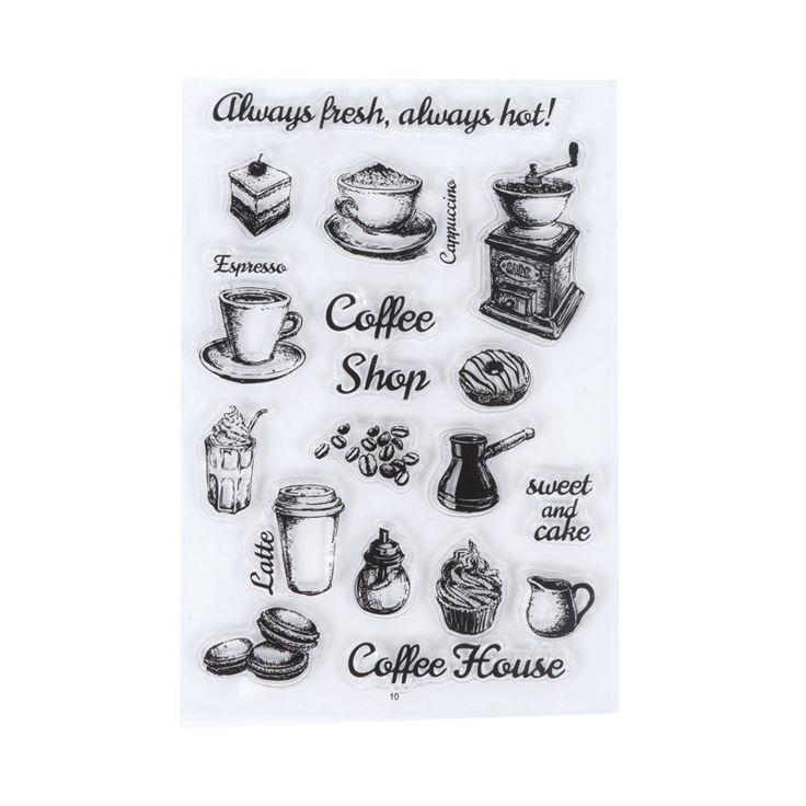 Coffee Shop Stamp, Coffee Cup Clear Transparent Stamp, Vintage Coffee Grinder Rubber Stamp, Planner Bullet Journal, Coffee Beans, Latte,Cake