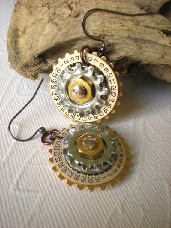 Steampunk Earrings  Steampunk Flowers  by MaddDoggofTomorrow, $18.00