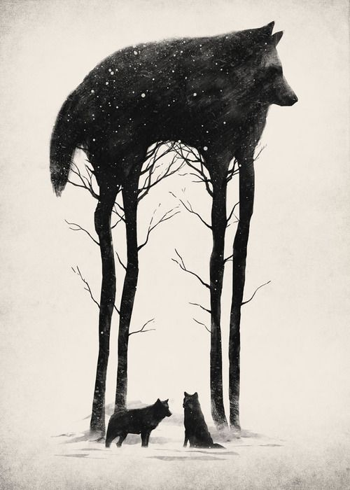 Dan Burgess uses both positive and negative space to give an illusionary and double visual effect in his illustrations.