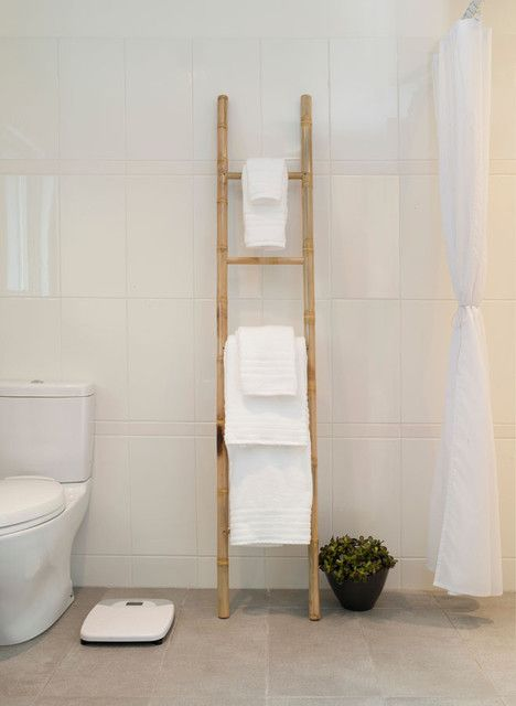 : Stunning Midcentury Bathroom Design Applied Bamboo Towel Bars And White Shower Curtain Also White Tile Backdrop