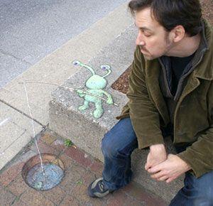 David Zinn with his favourite character Sluggo the Slug.