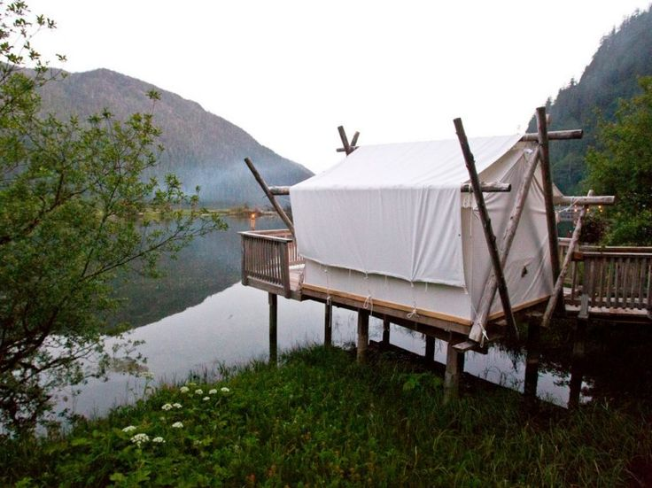 This small tent, over an estuary of the Bedwell River on British Columbia's Vancouver Island, is used by Clayoquot's spa staff for guests' massages.