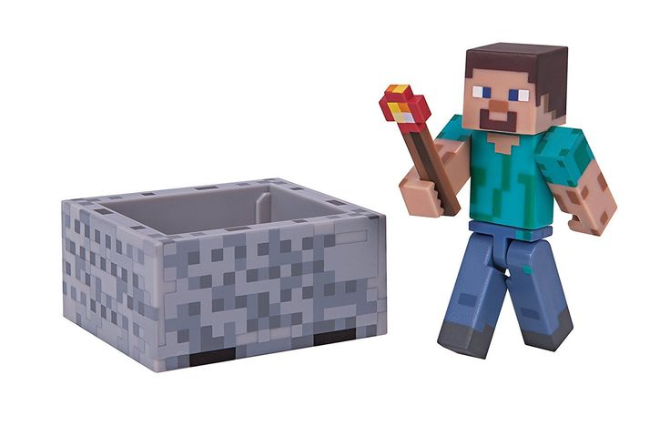 Minecraft Steve with Minecraft Pack. From the hit video game, Minecraft, take home the Steve with Minecart Pack. Includes Steve, Minecart and Redstone Torch. Steve stands about 2.75 inches tall and is fully-articulated. The Steve with Minecaft Pack is perfect for any Minecraft fan!. Collect all Series 3 Minecraft action figures!.